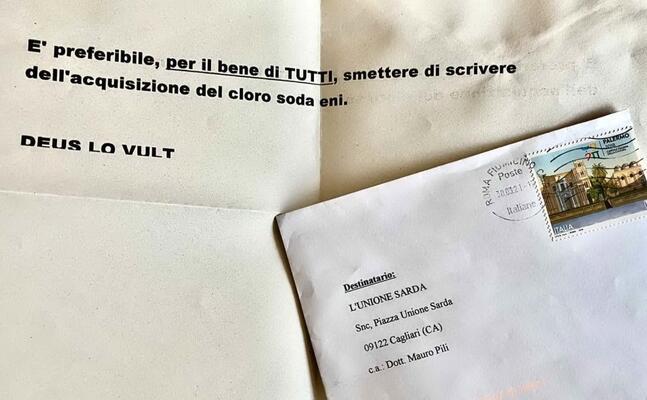la lettera inviata alla sede del giornale