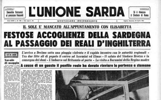 la prima pagina dell unione sarda del 30 aprile 1961