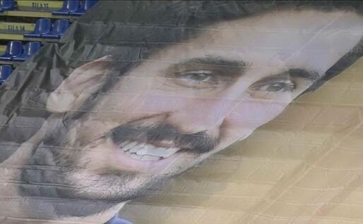 L'immagine di Astori sugli spalti dell'Arena (Sky Sport)