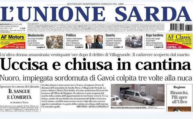 la prima pagina del 24 luglio 2002 con la notizia sull omicidio di maria pina sedda (archivio l unione sarda)