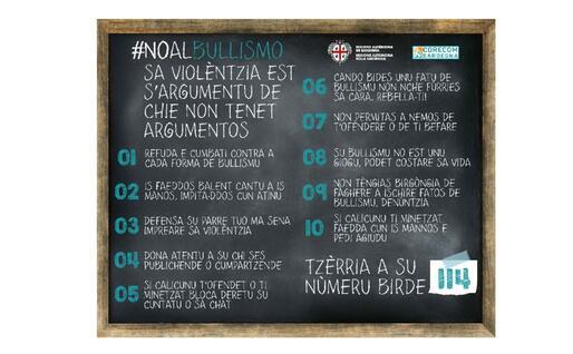 """""""No al bullismo"""": le regole in sardo (foto ufficio stampa)"""