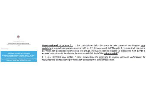 Uno stralcio della relazione dell'Arpas (L'Unione Sarda)